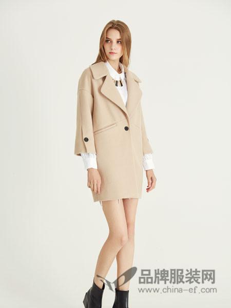 YES女装2017秋冬欧式七分袖西装领中长呢子外套