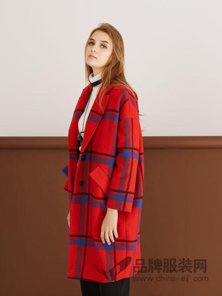 YES女装2017秋冬时尚格子中长红色呢子大衣