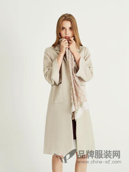 YES女装2017秋冬时尚欧式优雅大气中长呢子外套