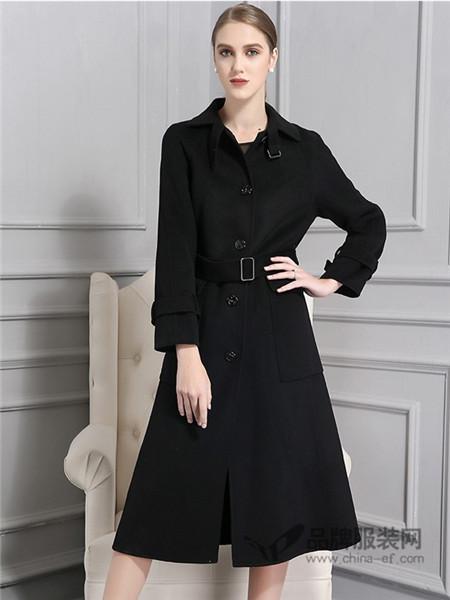 AG娅格女装2017秋冬束腰修身中长款单排扣双面呢羊毛大衣