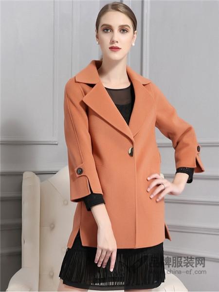 AG娅格女装2017秋冬韩版显瘦中长款双面呢羊毛大衣外套女