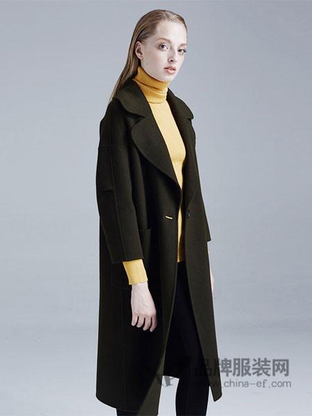梦菲雪女装毛呢外套女中长款韩版2017新款手工双面呢羊毛大衣女修身显瘦