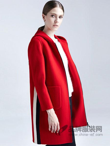 梦菲雪女装红色毛呢大衣女中长款2017新款韩版修身显瘦秋冬外套女加厚长袖
