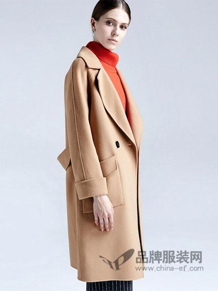 梦菲雪女装收腰呢子大衣女中长款韩版2017新款时尚修身秋冬款茧型毛呢外套女