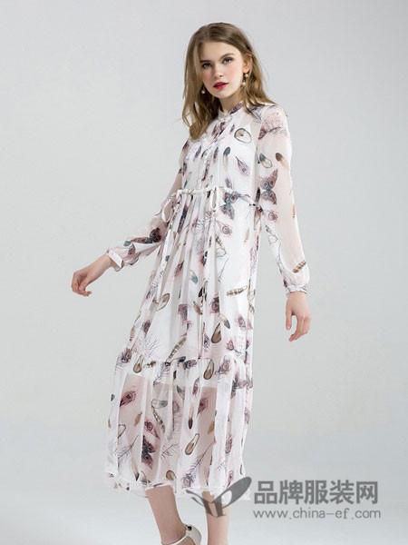 拉夏薇媞女装版气质碎花印花雪纺喇叭袖甜美连衣裙