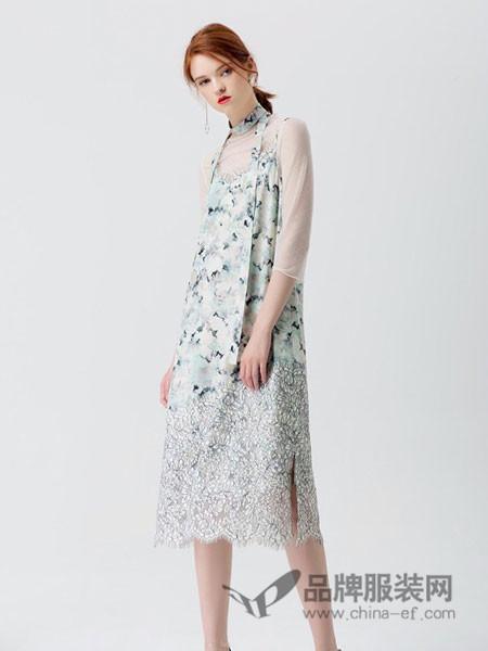 拉夏薇媞女装性感深V领吊带名媛度假蕾丝长款连衣裙