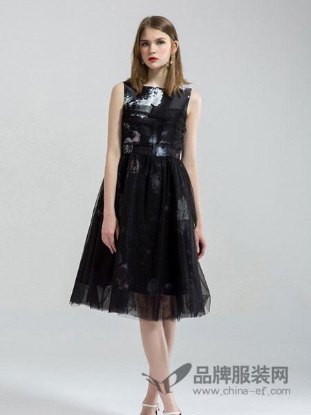 拉夏薇媞女装印花网纱背心无袖高腰气质小香风连衣裙
