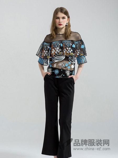 拉夏薇媞女装时尚刺绣荷叶装饰网纱透视上衣