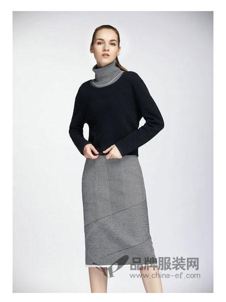 娇雪芳菲女装2017秋冬 清新条纹领子设计拼接针织连衣裙
