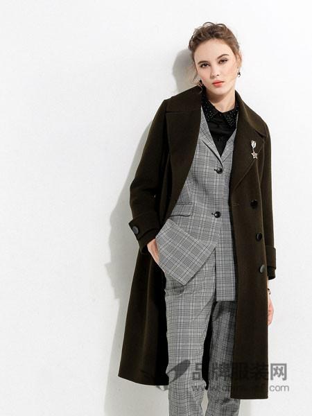 浩洋国际女装2017秋冬时尚欧美双襟格子西装外套