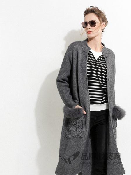 浩洋国际女装2017秋冬时尚长款灰色羊毛开衫女中长款外套上衣