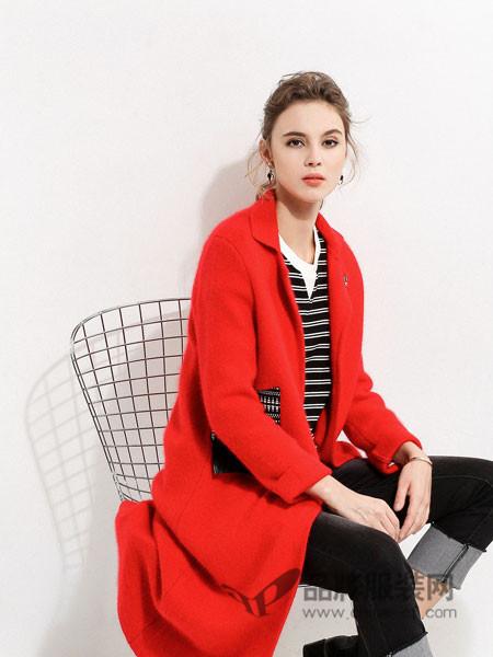 浩洋国际女装2017秋冬显瘦羊毛呢子外套羊驼绒大衣中长款宽松廓型