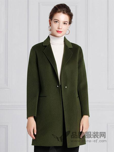 IDF女装2017冬季中长款简约羊毛双面呢修身百搭显瘦毛呢