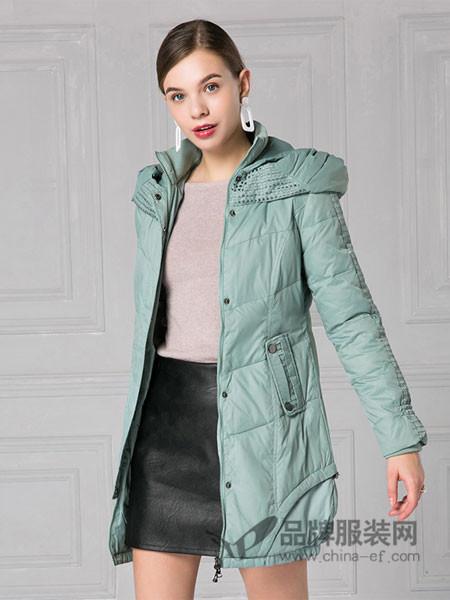 IDF女装2017冬季中长款修身韩版连帽羽绒服