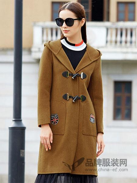 IDF女装2017冬季刺绣双面呢中长款修身百搭毛呢大衣