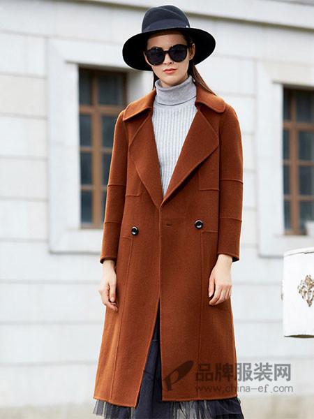 IDF女装2017冬季长款双面呢羊毛大衣呢子外套