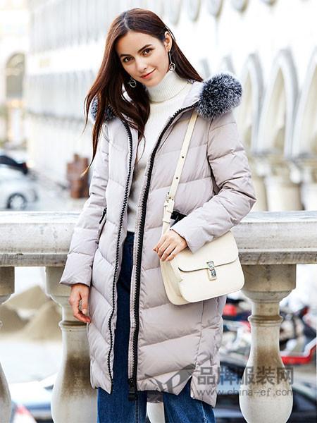 IDF女装2017冬季中长款大毛领灰鸭绒时尚羽绒服