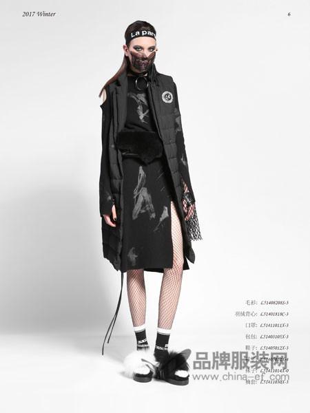 纳帕佳女装2017秋冬黑色双排扣中长款羊毛呢马甲大衣女百搭外套
