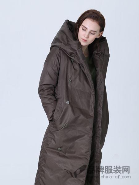 Vanities女装2017秋冬羽绒服女中长款高领防风保暖95%白鸭绒外套