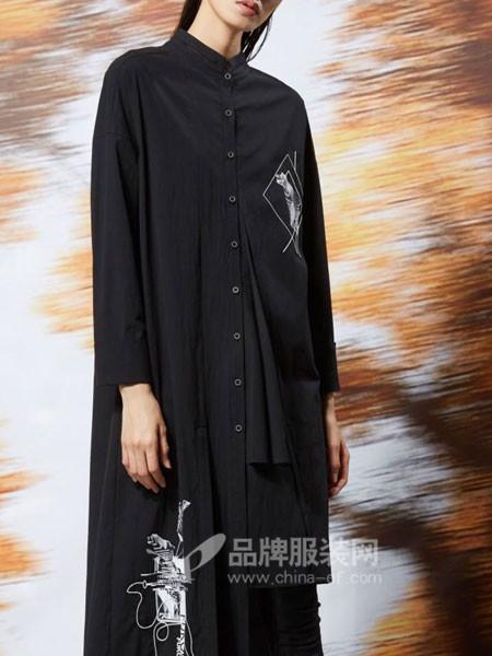 弗蔻Fu Kou女装2017秋冬时尚大气立领中长衬衣裙