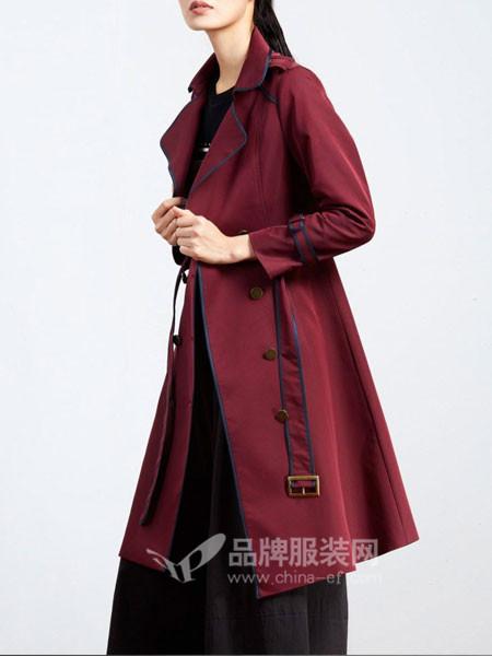 弗蔻Fu Kou女装2017秋冬欧式轻薄中长第带外套