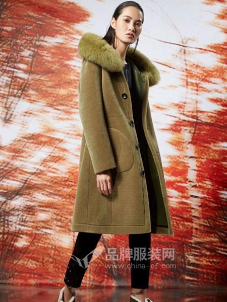 弗蔻Fu Kou女装双面羊绒毛呢呢子大衣女中长款韩版2017秋冬新水貂狐狸毛皮草外套