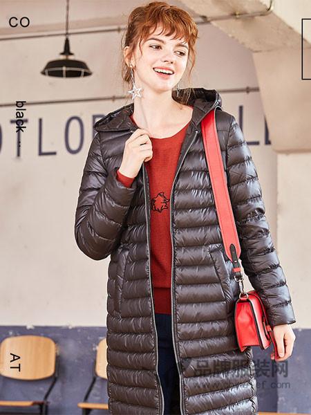 欧尚尼女装羽绒服女中长款2017冬季韩版轻薄修身连帽白鸭绒外套