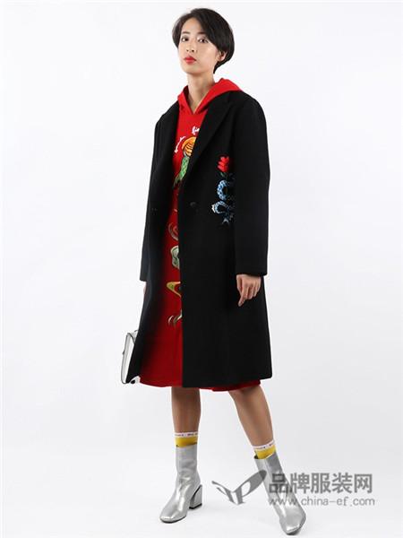 朗诗逸女装2017秋冬印花刺绣宽松V领羊毛毛呢大衣外套