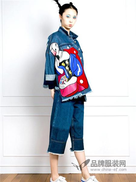 朗诗逸女装2017秋冬撞色贴布印花不对称流苏牛仔外套