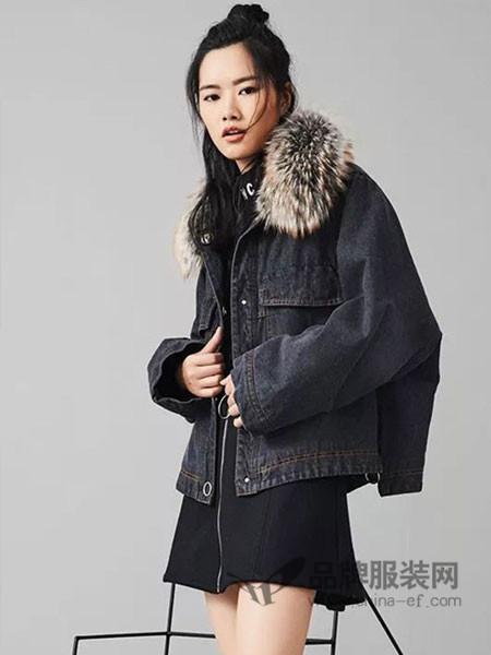 时风女装2017秋冬加绒牛仔外套女短款羊羔毛韩版加厚狐狸毛大毛领外套