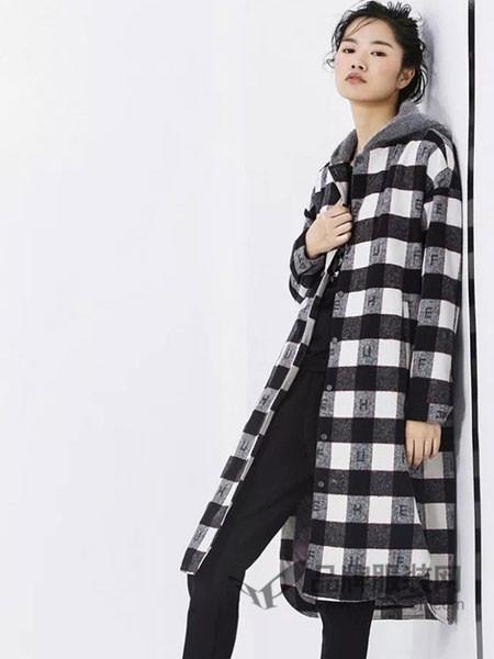 时风女装2017秋冬时尚款呢子大衣女 韩版单面呢宽松中长款格子百搭外套
