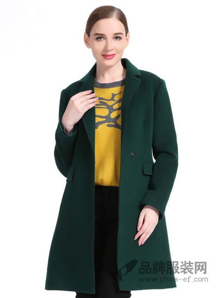 唐·朱迪女装2017秋冬专柜修身长款毛呢大衣