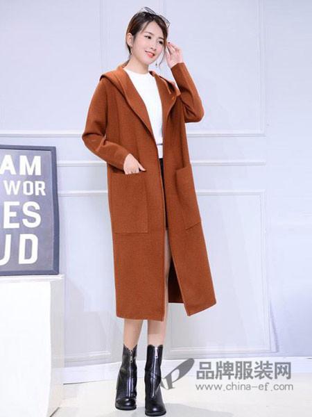 冰之依恋女装2017秋冬中长款连帽针织开衫韩版加厚外搭外套
