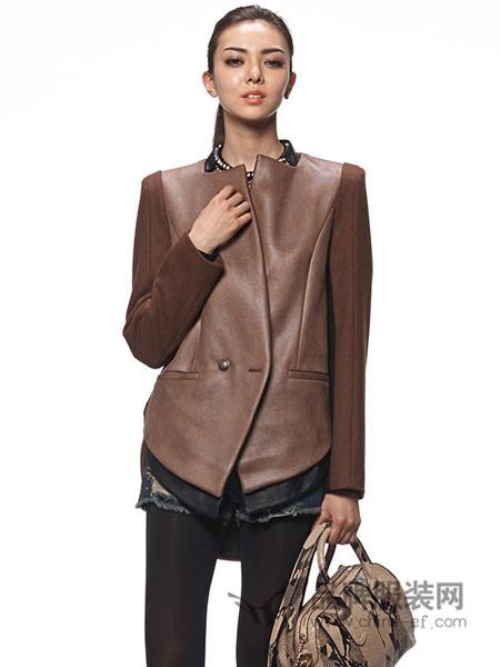贝拉维拉女装撞色PU拼接拼接呢大衣