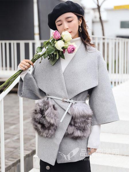 丝柏舍女装2017秋冬纯色七分袖大翻领中长款百搭大衣