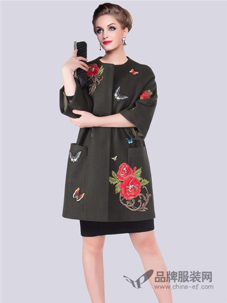Sunblossom(法国碧阳)女装2017秋冬时尚大牌中长款毛呢大衣妈妈装外套