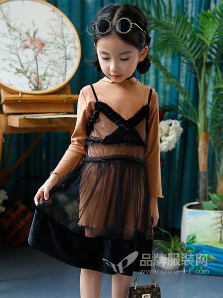 韩流小鱼童装2017秋冬韩式时尚纱网两件套连衣裙