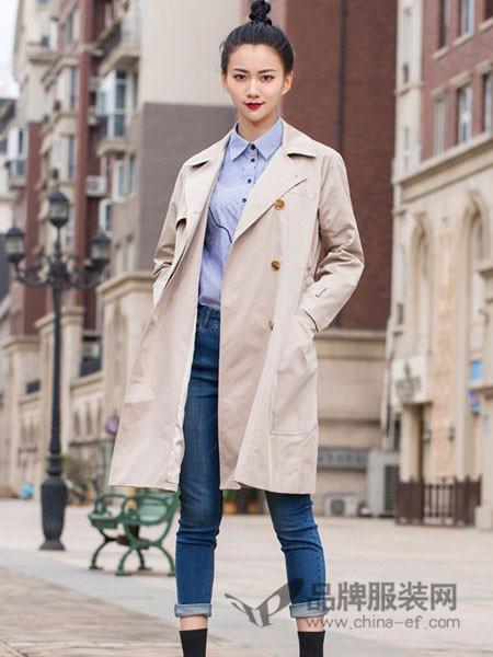舍念女装2017秋冬西装领风衣宽松廓形插肩袖过膝双排扣外套