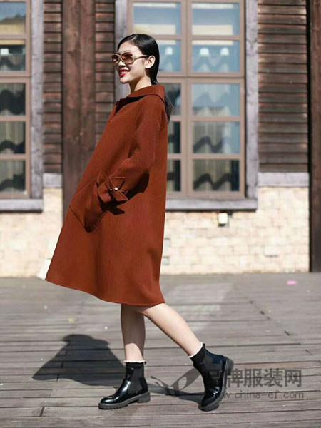 Charm Beauty夏姿绮女装2017秋冬双面呢大衣女装中长款双面绒毛外套