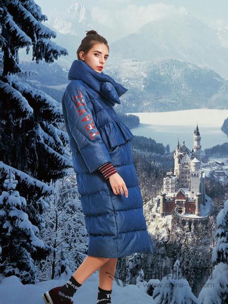 卡布依女装2017冬季韩国中长款长过膝加厚连帽宽松斗篷韩版羽绒服