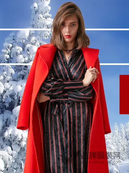 卡布依女装2017冬季V领睡袍式长款绑带高腰显瘦连衣裙