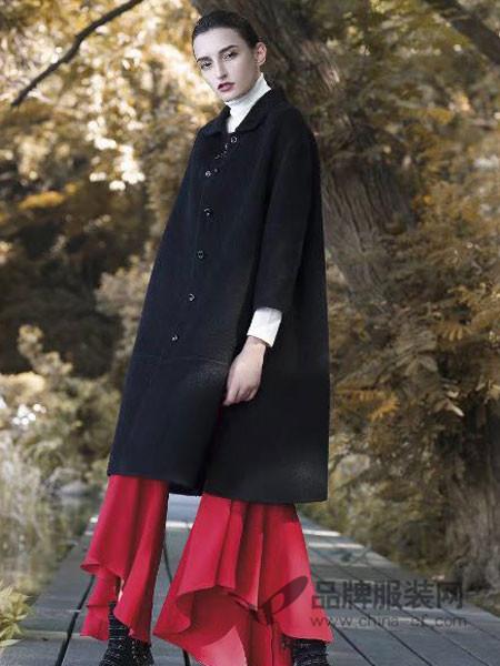 富儿雅女装2017秋冬双面绒进口阿尔巴卡苏利羊驼绒中长款呢外套