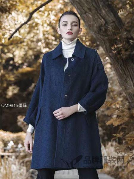 富儿雅女装2017秋冬阿尔巴卡苏利羊驼绒中长款呢外套