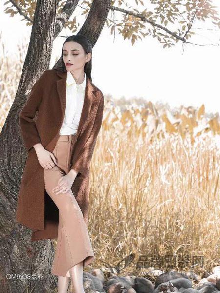 富儿雅女装2017秋冬羊驼绒大衣女中长款双面羊绒羊毛呢厚外套