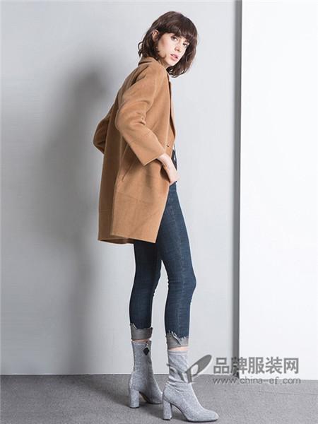 美诗缇MIXTIE女装2017秋冬时尚休闲中长呢子外套