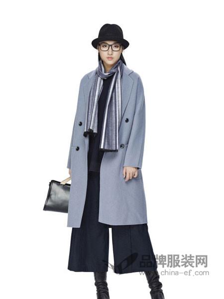 墨曲女装2017秋冬中长款韩版宽松双排扣英伦风过膝长款呢子外套