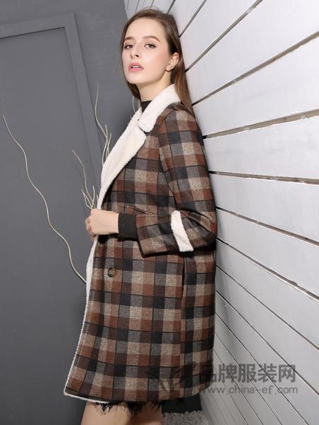 戴莉格琳女装2017秋冬中长款羊绒大衣双面羊毛系带收腰格子呢子外套