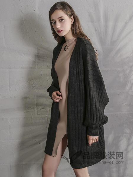 戴莉格琳女装2017秋冬韩版宽松中长款毛衣外套纯色长袖开衫