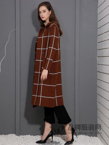戴莉格琳女装2017秋冬中长款韩版时尚修身格子大衣翻领加厚女外套
