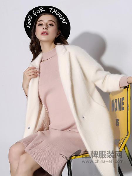 戴莉格琳女装2017秋冬温柔乳白色小翻领加厚貂绒针织大衣